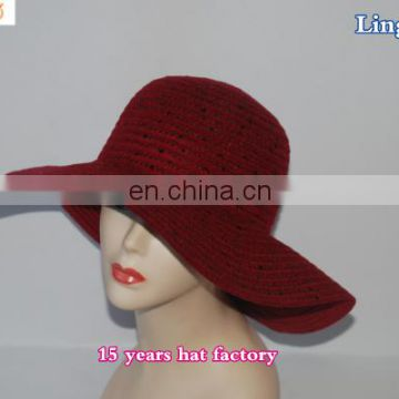 LSP104 Wholesale Small Diamonds 100% Paper Straw wholesale vintage foldable bucket hat