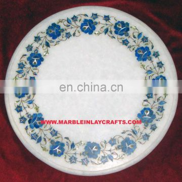 Manufacture White Marble Inlay Table Top