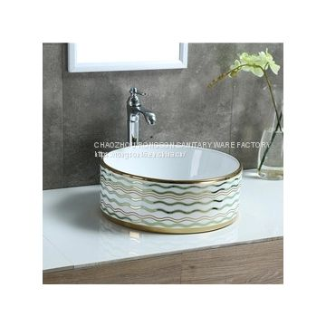 Ceramic new design round shape deep colored wash hand basin sink in slivery color