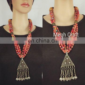 Vintage Festival Afghani Jewelry- Afghan Tribal Jhumar Necklace- Indian Designer Tribal Fusion Jhummer Necklace