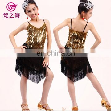 ET-090 Sexy sequins sparkle fabric performance children girls latin dance dress for competition with size S M L XL XXL