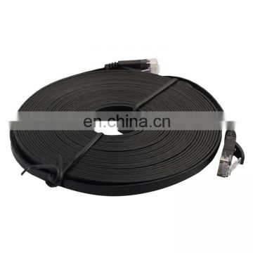 Free sample 7.6m CAT6 Ultra-thin Flat Ethernet Network LAN Cable, Patch Lead RJ45 (Black)