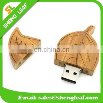 lovely leaf shaped wooden usb flash drive