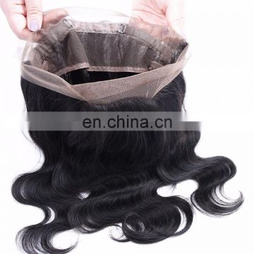 Wholesale virgin Brazilian hair 360 lace frontal closure, 360 lace frontal with bundles