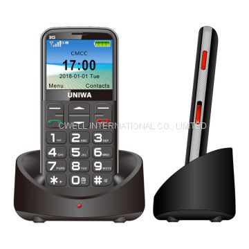 2.31 Inch Curved Screen UNIWA V808G 3G WCDMA SOS function Special Charging Cradle big keyboard mobile phone for elderly