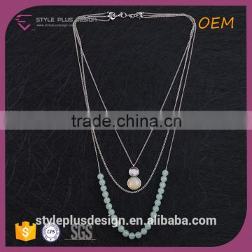 N74313K01 Mesh chain gps tracker necklace 2016 coral beads jewelry natural stone pendants jewelry silver tone layered necklace