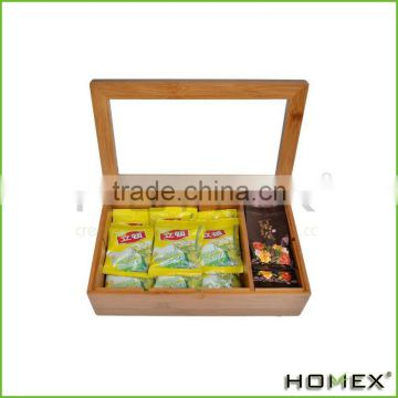 Hot Selling House Bamboo Tea Box Organizer with 8 Storage Compartments and Slide Out Drawer for Tea Accessories/Homex_Factory