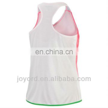 Dye sublimation sexy ladies pink running singlet wholesale