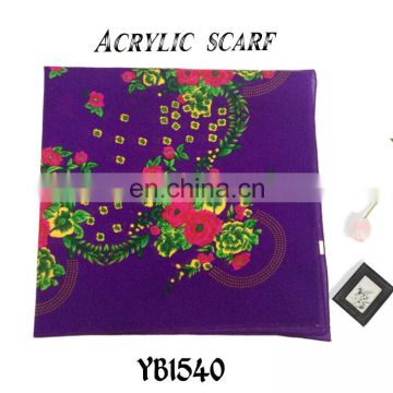 2016 latest design Fashion Arab Lady Scarf, Hard feeling Acrylic Scarf, Printed Hijab, purple color square Scarf factory sale