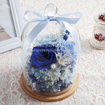 wooden base Glass cover flowers cover cake cover micro landscape glass vases Teacher gift decoration