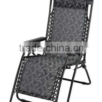 Outdoor portable foldable sun deck chair with armrest