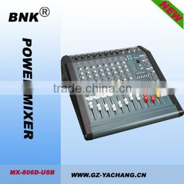 8 channel power mixer console