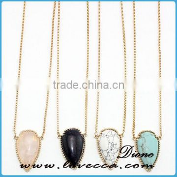 Top sale simple design turquoise necklace crystal gemstone necklace