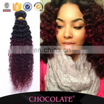 Qibla direction Ombre Hair Weaves Chocolate Hair Weave kinky curly Peruvian Virgin Hair