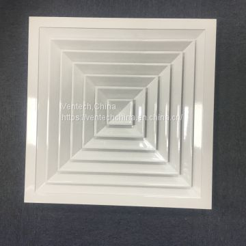 aluminum square 4 way supply ceiling air diffuser with damper China supplier