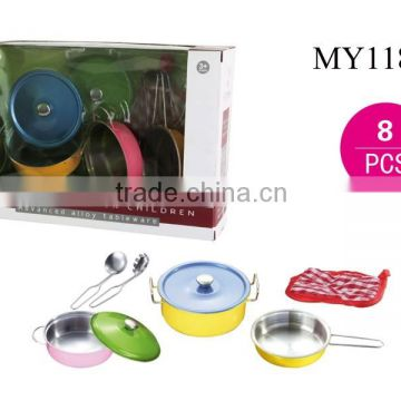 Kids Play Tableware Toy Stainless Steel Cooking Toy Cook Set Toy / kitchen appliance cooking sets with 8PCS