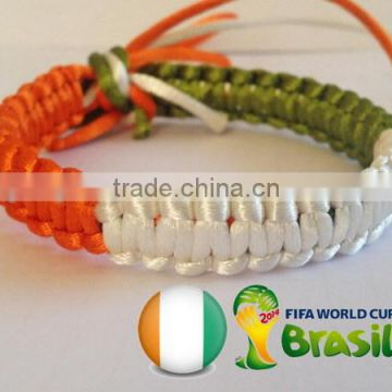 Hot new bestselling product wholesale alibaba Unique Handmade WORLD Cup Brazil Italy flag twisted rope bracelet made in China