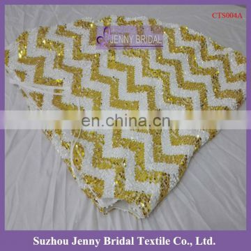 CTS004A cheap handmade gold chevron sequin christmas tree skirts