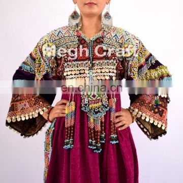 Afghan Kuchi Dress - Tribal Banjara Dress - Indian Gypsy Vintage Coins Dress - Woman Fashion Beaded Embroidered Kuchi Dress