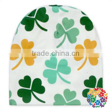 St Patrick Day Shamrock Print 100% Polyester Adjustable Newborn Baby Hat