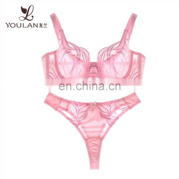 pink transparent new style woman set underwear bra