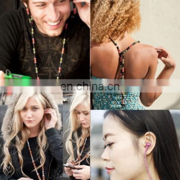 Multicolour Beads Style In-ear Stereo Necklace Headphone