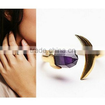 Natural amethyst with gold moon tiny natural stone ring for Valentine's day New year