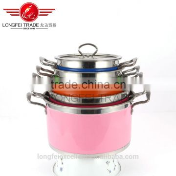 custom-color hot sale stainless steel cooking pot sets