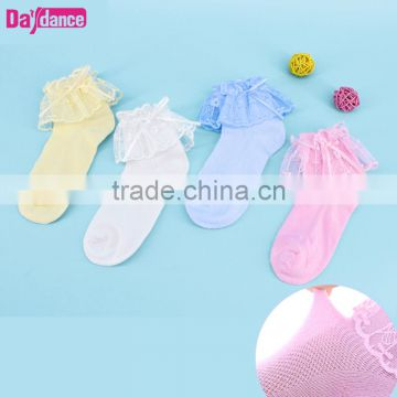 Toddler Baby Girls Ankle Socks Lace Ruffles Princess Dance Tights