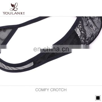 2016 Newest Luxurious lace thong sweet sexy ladies underwear black color sexy panties cotton