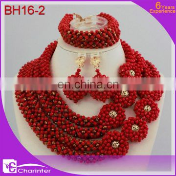 african beads jewelry set african beads nigerian coral beads jewelry set wedding african jewelry set BH16-2 red