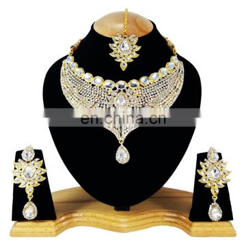 Designer Party Wear kundan White Stone Color Gold Plated Zerconic Necklace Earrings Tikka