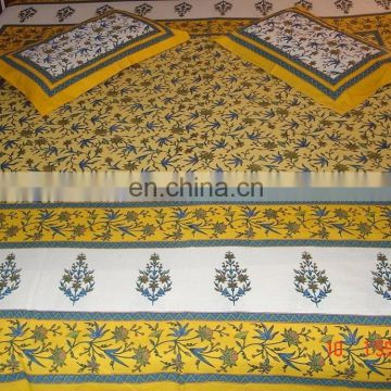 Jaipuri handmade leaf royal Print 100% Cotton Rajasthani Tradition King Size Bedsheet