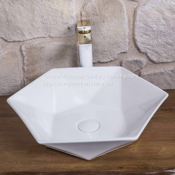 Good sale ceramic white color sanitary ware bathroom table installtion factory wholesale square new table wash basin