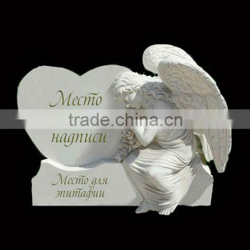White Marble Tombstone With Angel Design HT-S-MB133