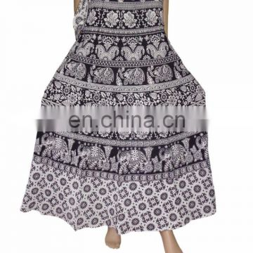 Indian Wrap Around Elephant Peacock Print Cotton Long Regular Fit Size Sk Hippie Boho Gypsy Batik Cotton Wrap Around Skirt Dress