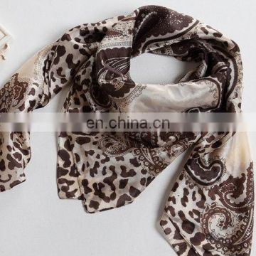 2014flower design fashion trend polyester paj square scarf (PY009L)