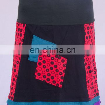 Bohemian Valentine Red Cotton Patchwork Mini Skirt HHCS 109 H