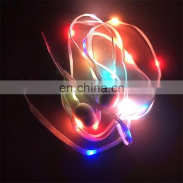 European christmas funny nylon led multiple color flashing shoelace
