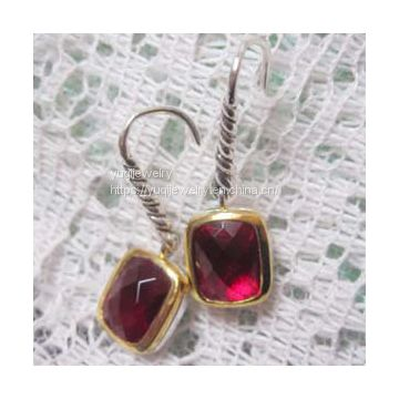 Gold Plated 925 Silver 8x10mm Garnet Noblesse Earrings(E-043)