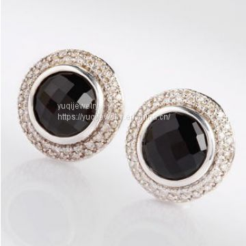 925 Silver Jewelry 10mm Black Onyx Cerise Earrings(E-054)