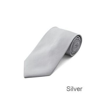 Double-brushed White Polyester Woven Necktie High Stitches Boys