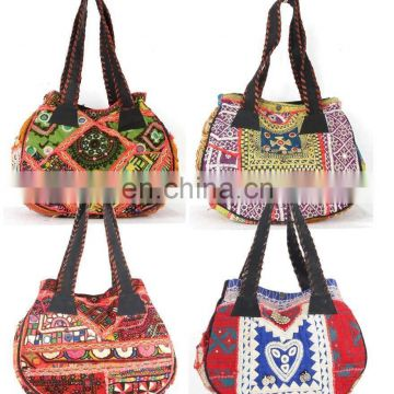 Vintage Banjara Hand Bags Hobo Tote Ethnic Tribal Gypsy Leather handle Indian Hippie Hobo Coins Cowrie Women tote bag wholesale