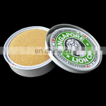 Promotional high quality cheap recycled durable tin coaster with cork back