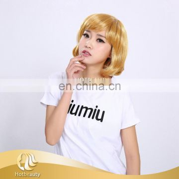 Trade assurance yellow 12 inch low temperature synthetic hair wig for women