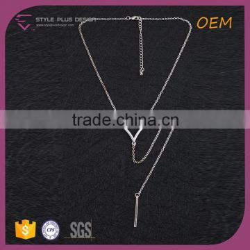 N72417S01 STYLE PLUS white platinum plate simple design long necklace pendant metal necklace