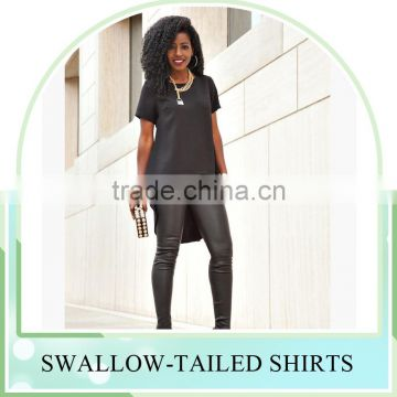 New Fashion long tail t shirt swallow-tailed women blouse skirt Long back short front swallow tailed shirt for women