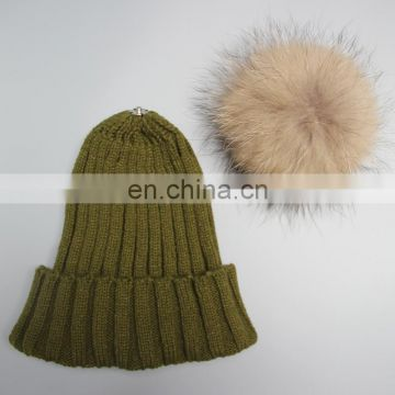 100% acrylic winter lady hats girl fashion big fur ball crochet hats 2016