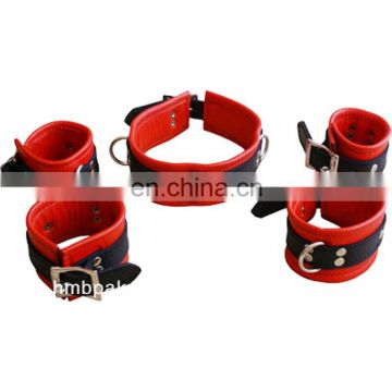 HMB-406A LEATHER BRACELET CUFFS WRIST BANDS COLLARS 5PCS SET