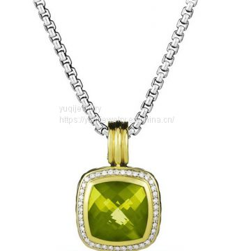 Silver Jewelry Albion Pendant with Olive Quartz on in Gold(P-029)